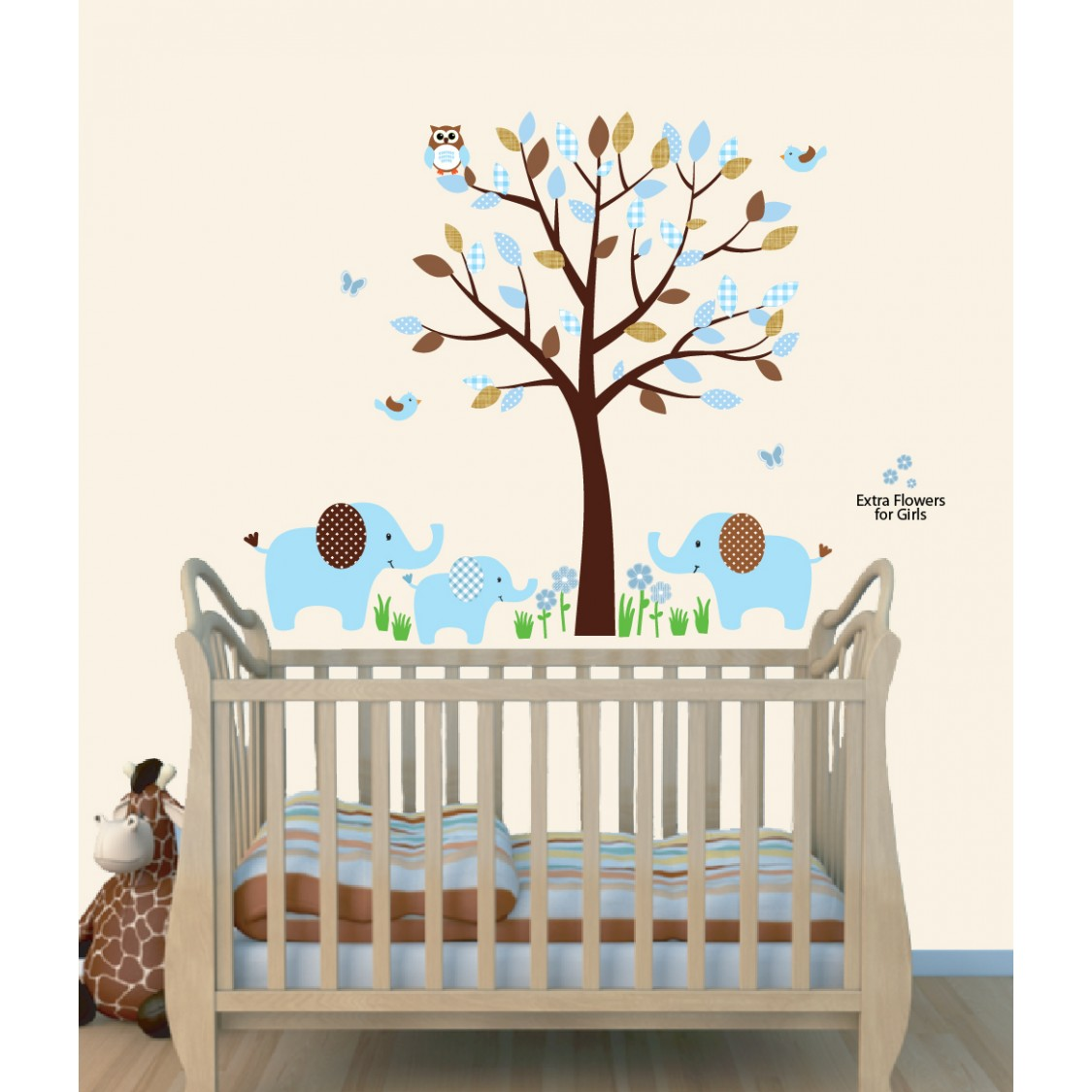 Boy Blue Wall Decals Jungle With Elephant Stickers For Boys Nursery