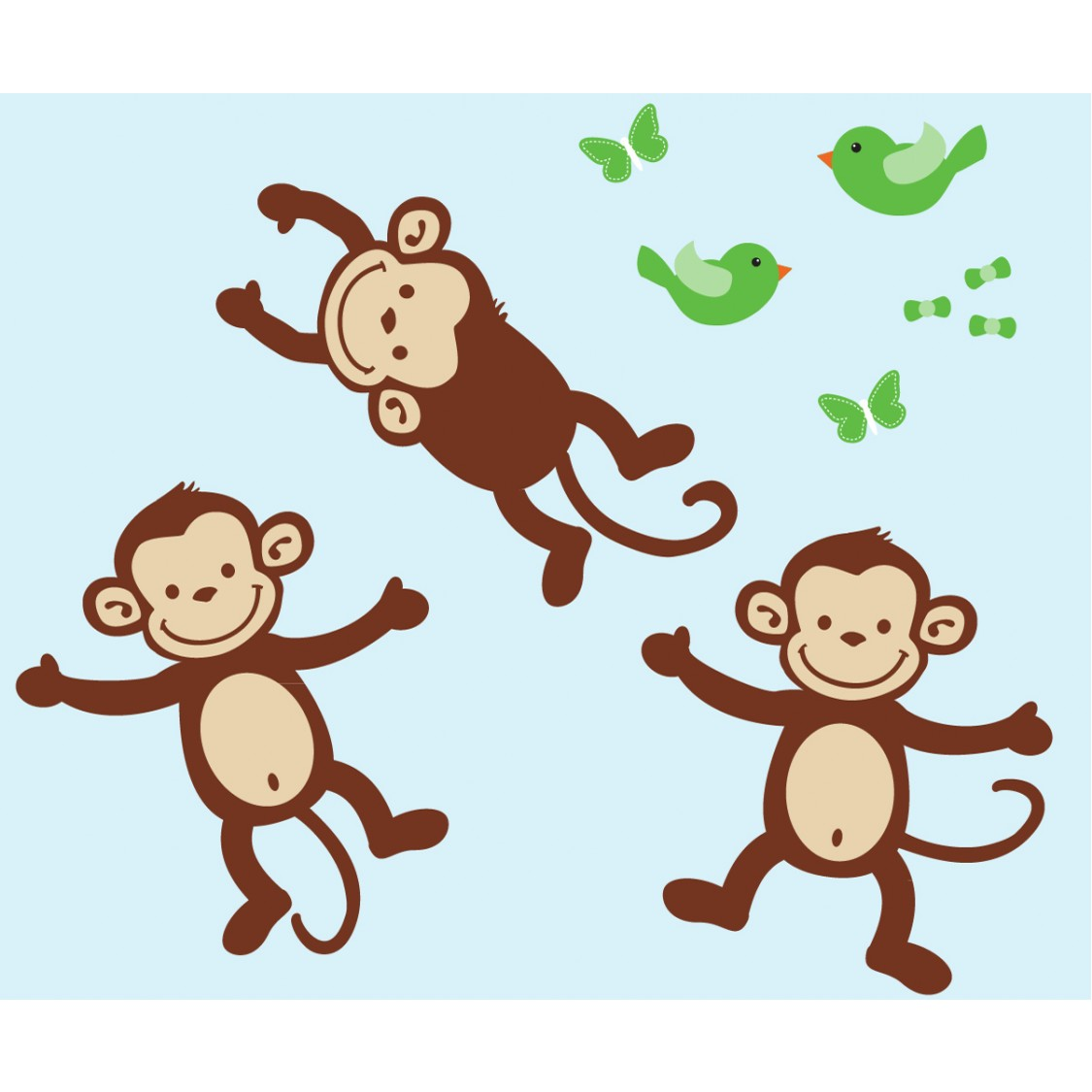 Three Monkey Decals For Kids Rooms