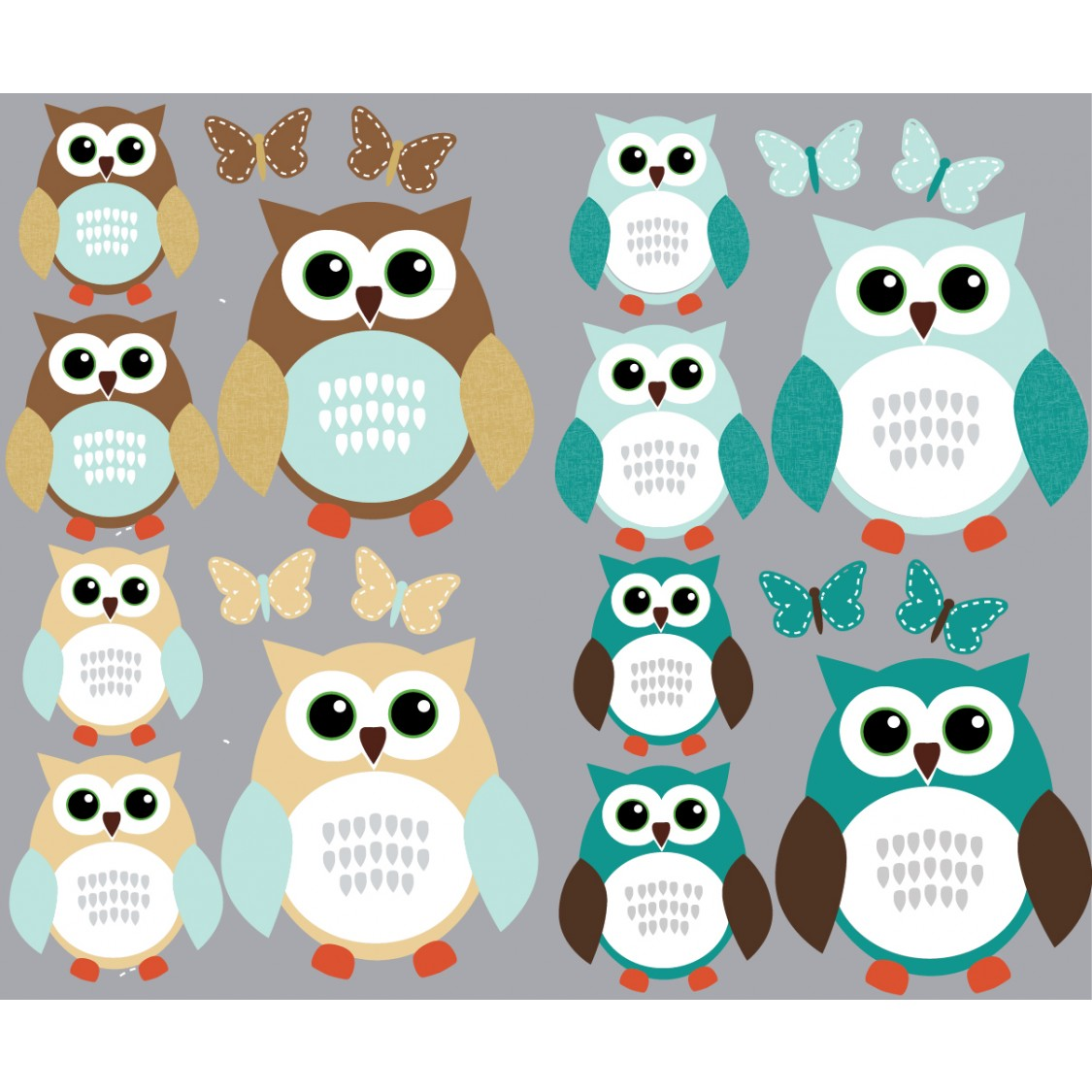 Teal Owl Wall Art With Butterfly Wall Decorations For Kids Rooms