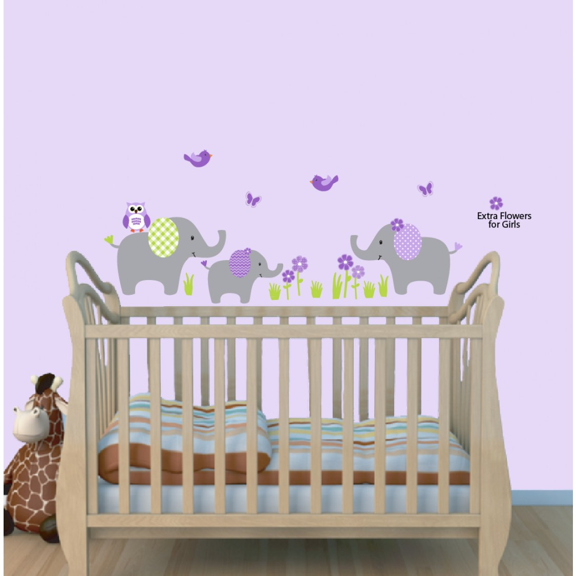 Cheerful jungle theme wall decals with wall sticker for Baby jungle safari wall mural