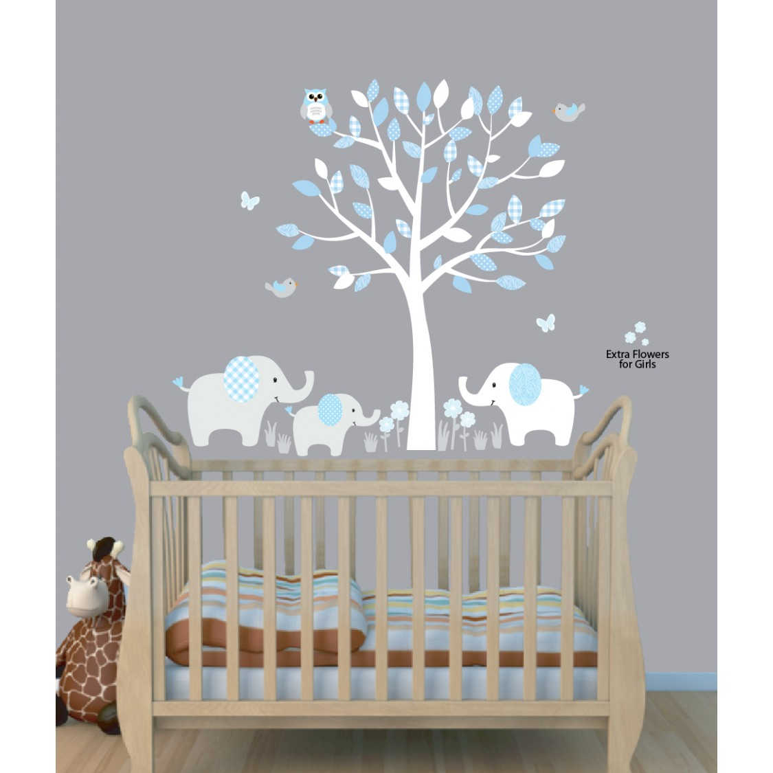 Baby blue tree wall decals with elephant stickers for nursery blue nursery jungle wall decals with elephant wall decal for boys rooms amipublicfo Choice Image