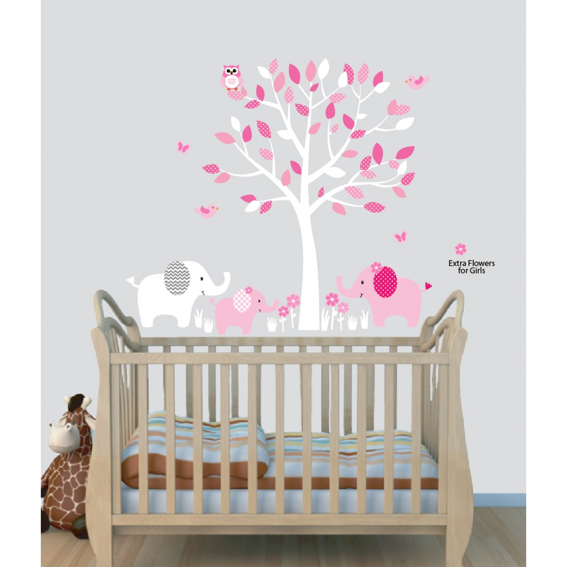 Baby Pink Tree Wall Decals With Elephant Stickers For Play