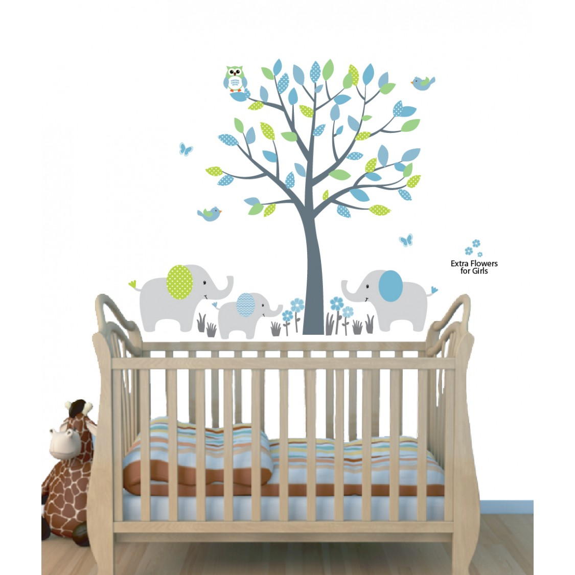 Green Jungle Wall Stickers With Elephant Wall Decal For Kids Rooms