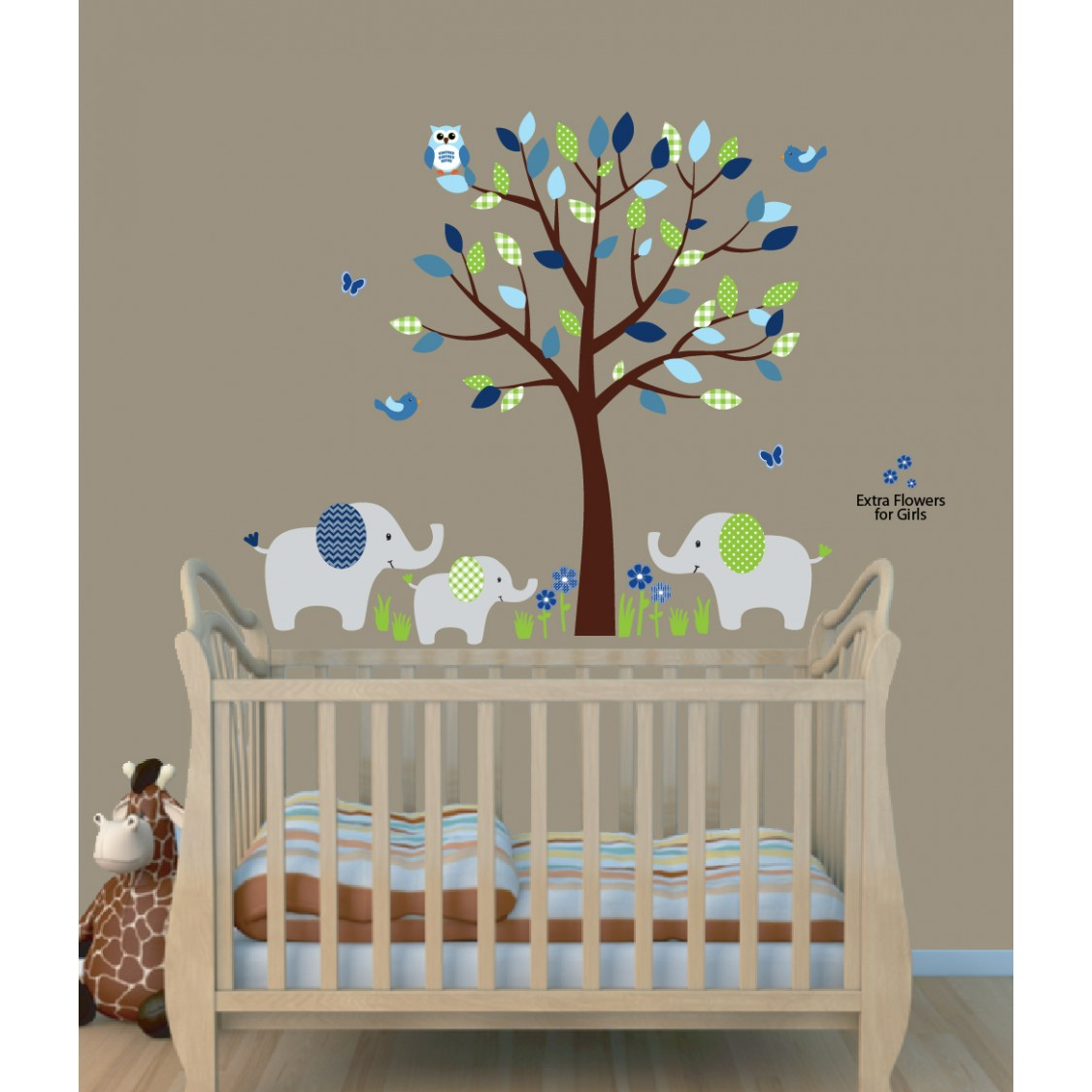 Green Safari Nursery Wall Decals With Elephant Wall Decal For Kids Rooms