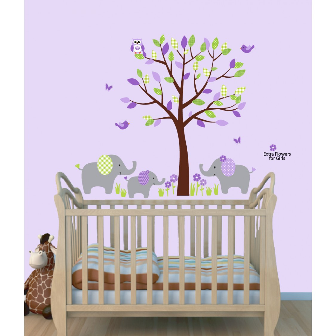 purple and green jungle tree safari stickers with elephant wall purple jungle wall decals with elephant wall art for play rooms