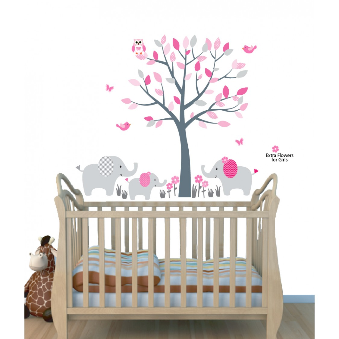 Elegant Pink Nursery Jungle Wall Decals With Elephant Wall Art For Kids