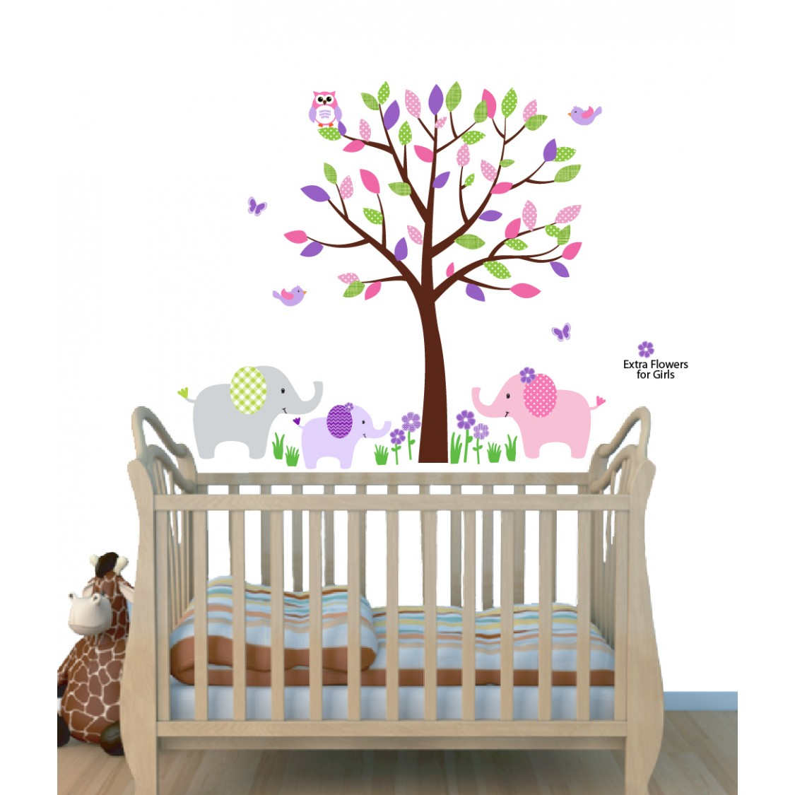 Pink Zoo Wall Stickers With Elephant Wall Decor For Kids