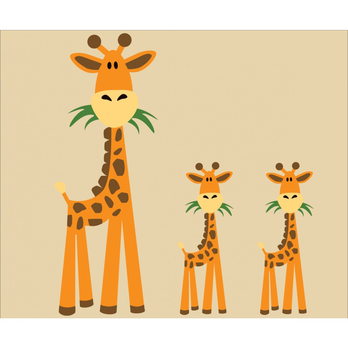Three Giraffe Wall Decals For Kids