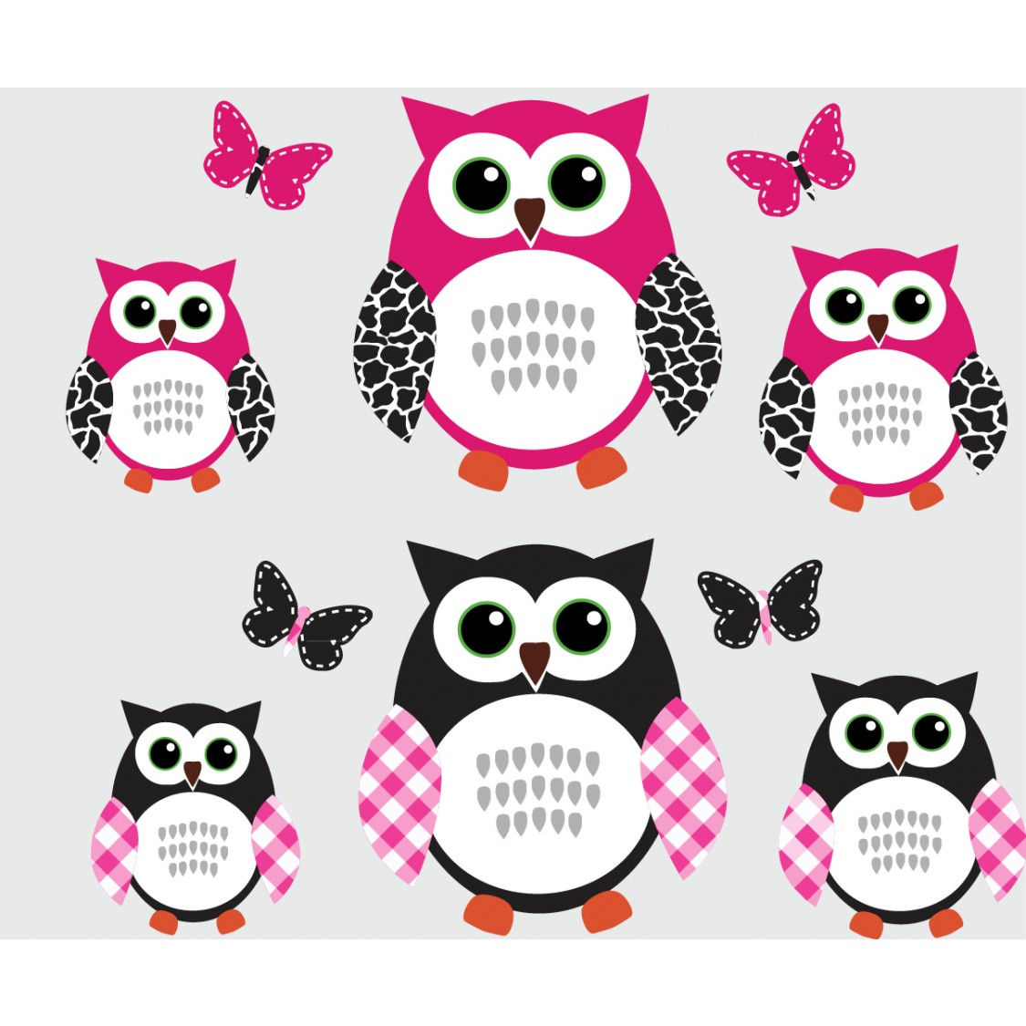 Pink and Black Owl Wall Art With Butterfly Decals For Walls For Girls