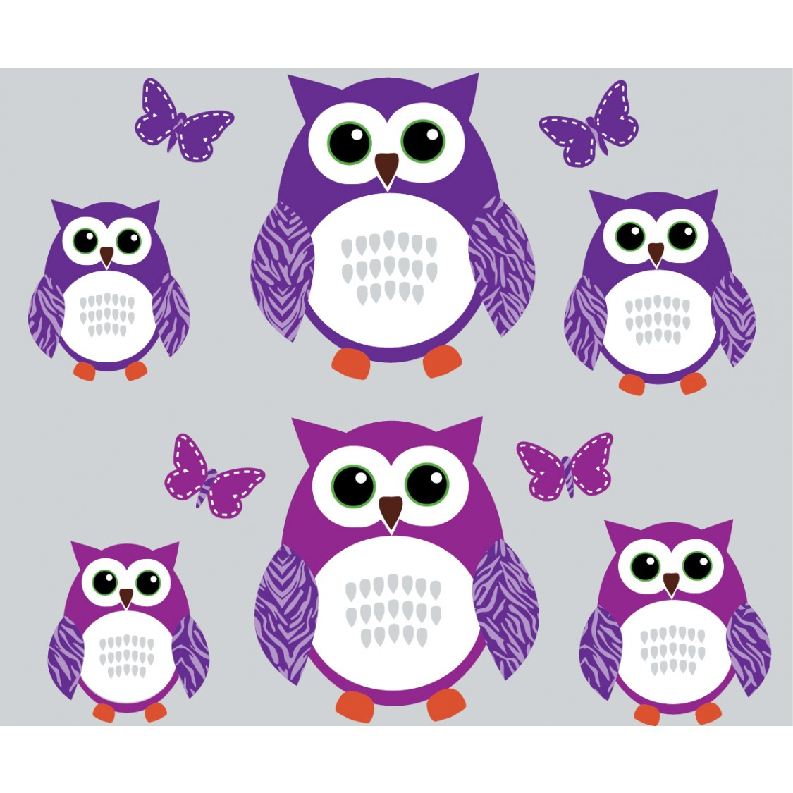 Perfect Purple And Green Owl Tree Wall Decal With Butterflies Wall Decor For Girls  Rooms