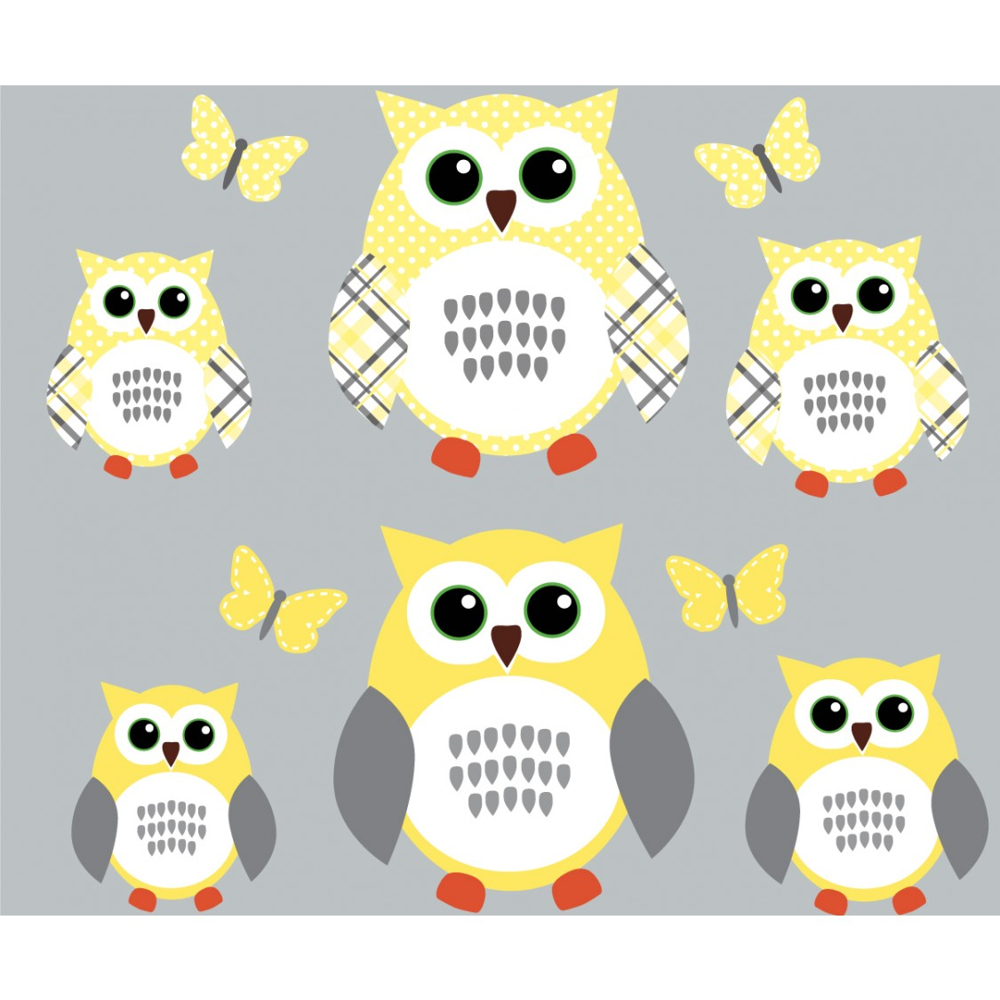 Yellow and Gray Owl Wall Decal With Butterfly Wall Sticker For Girls ...