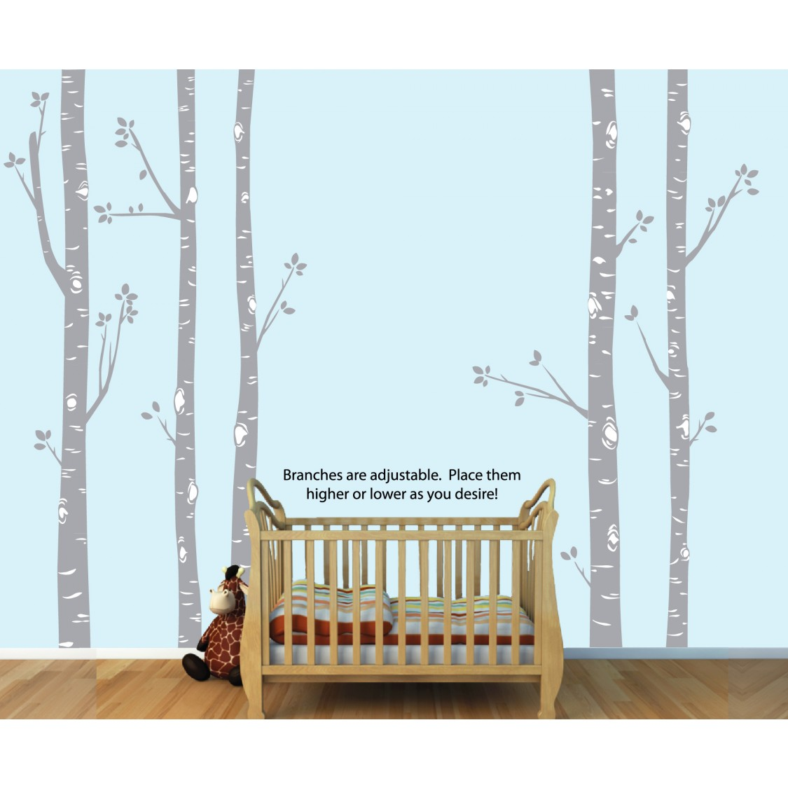 Birch Tree Wall Decal and Tree Wall Decorations For Kids Rooms
