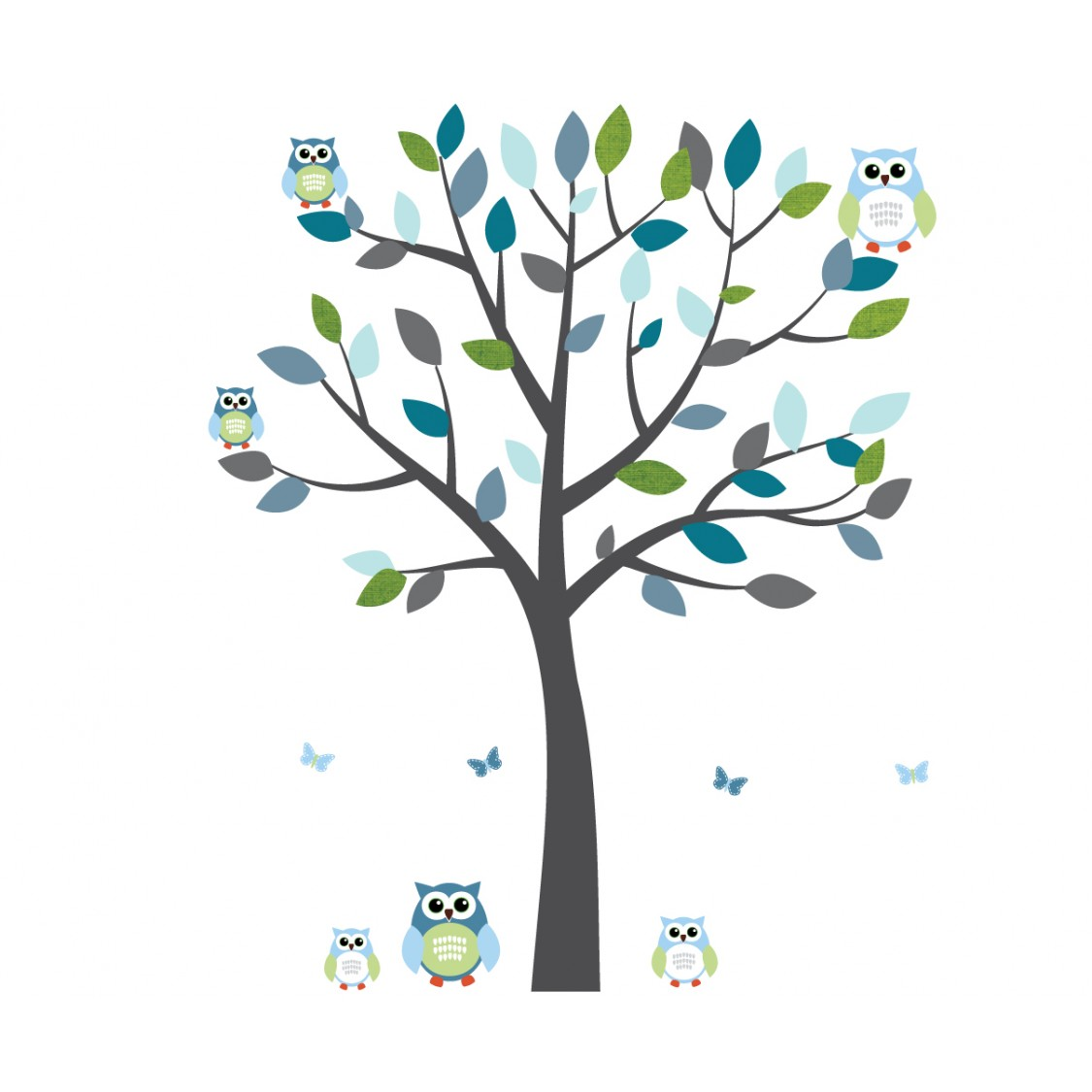 Gray and Blue Owl Tree Wall Decal With Tree Wall Murals For Kids