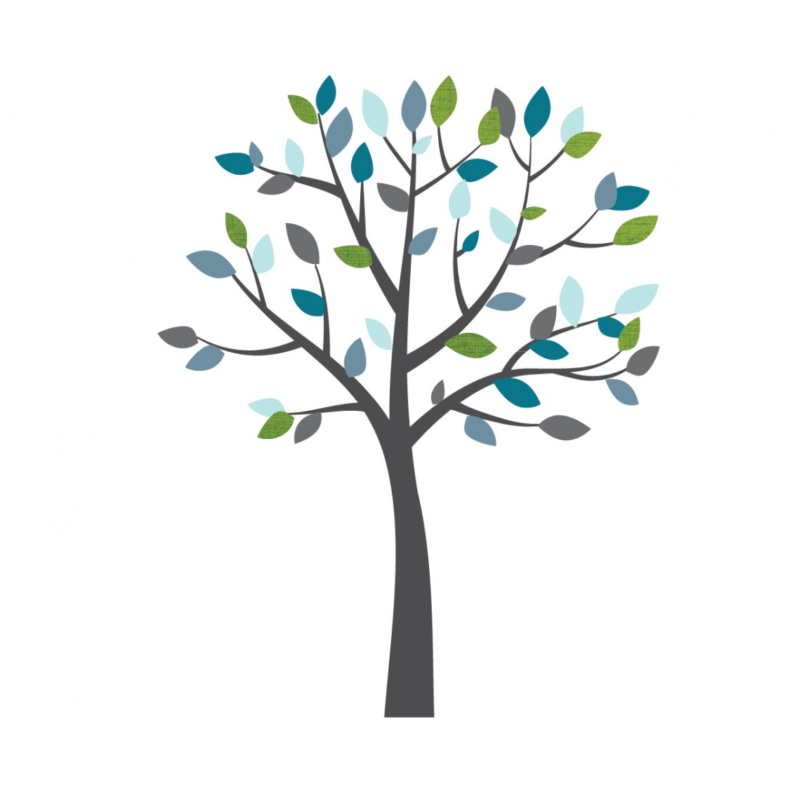 Blue and Grey Wall Sticker Tree For Kids