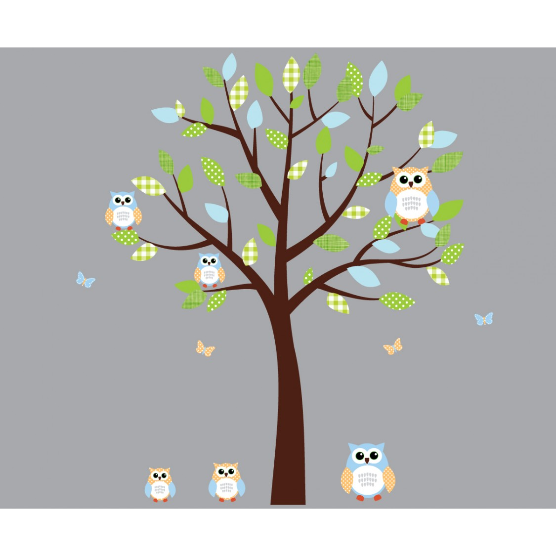 Green and Blue Owl Wall Decal With Tree Wall Murals For Kids Rooms