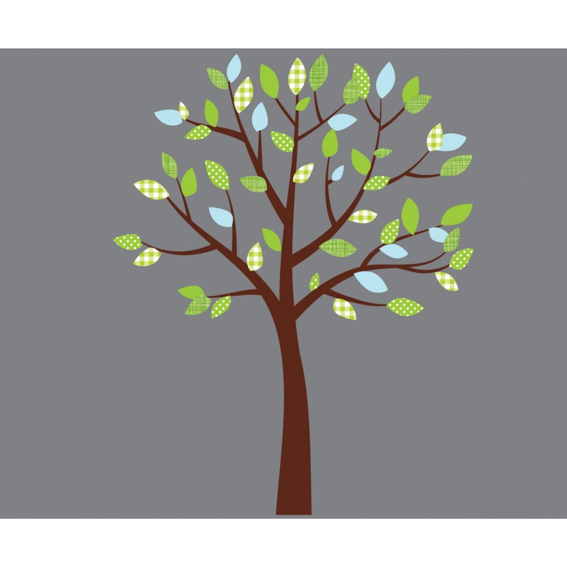 Blue and Green Leaf Wall Decals For Kids Rooms