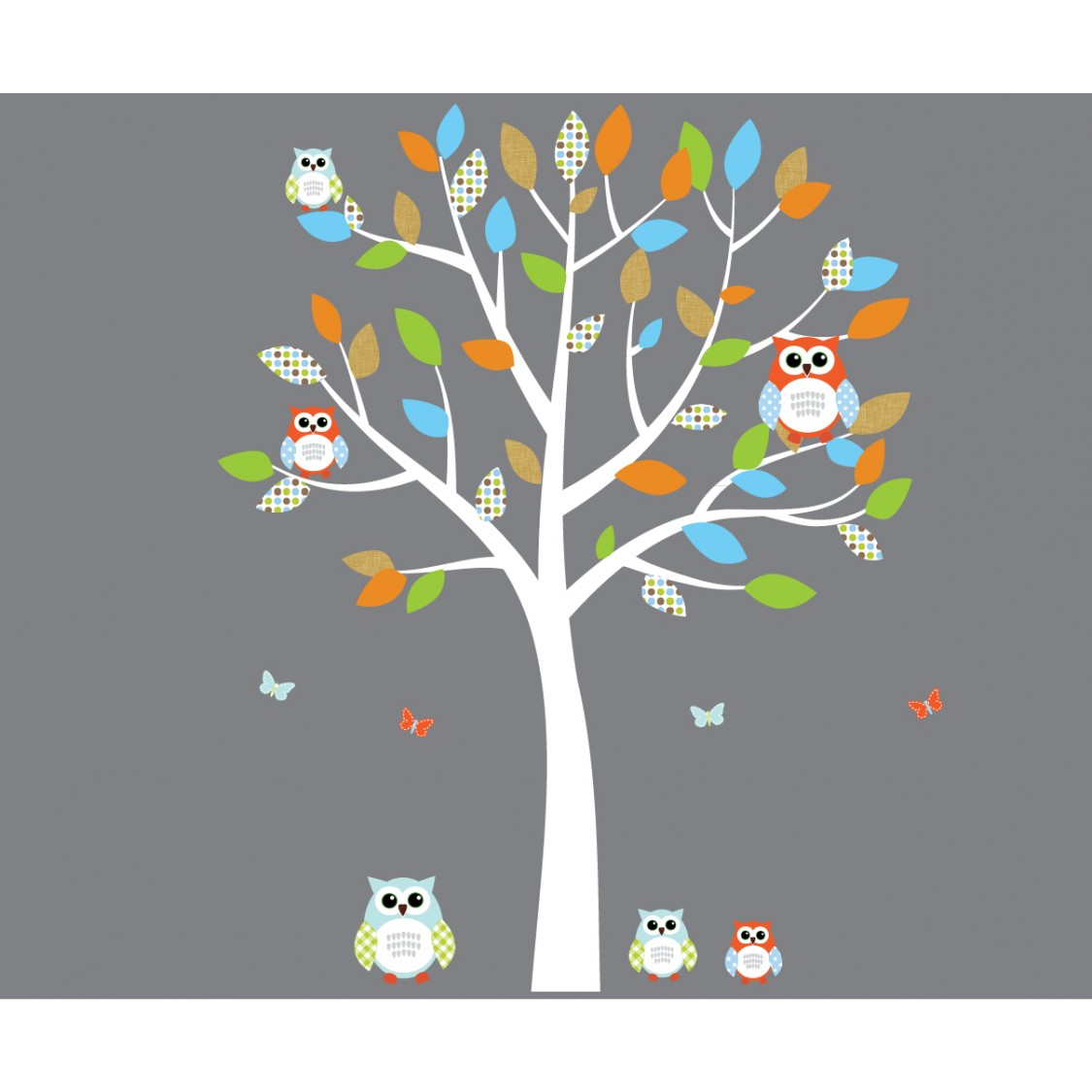 Orange And Blue Owl Decals With White Tree Wall Decal For