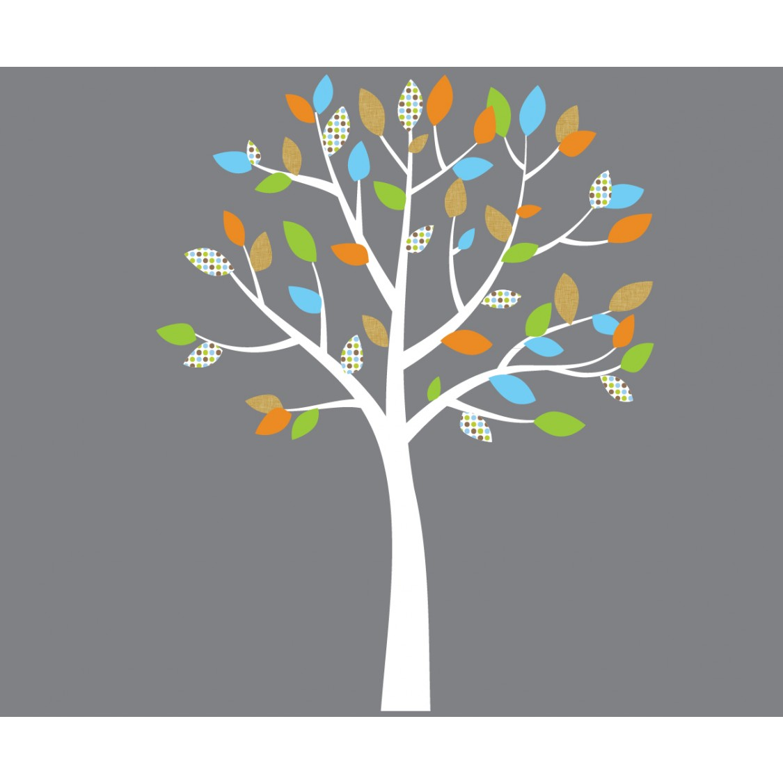 Orange And Blue Tree Wall Decals For Kids For Nursery Or
