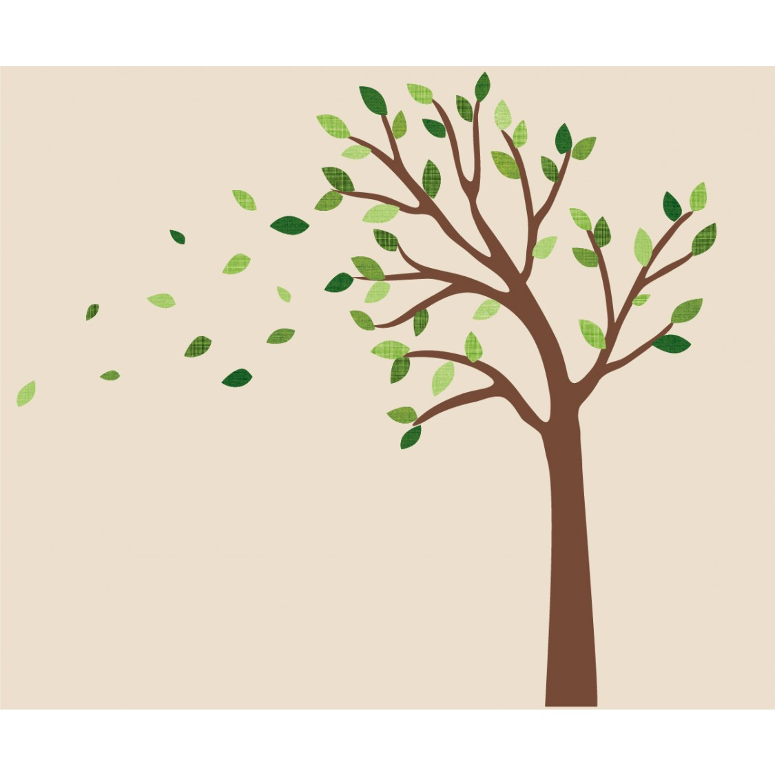 Green and Blowing Wall Stickers Tree For Nursery Or Baby Room