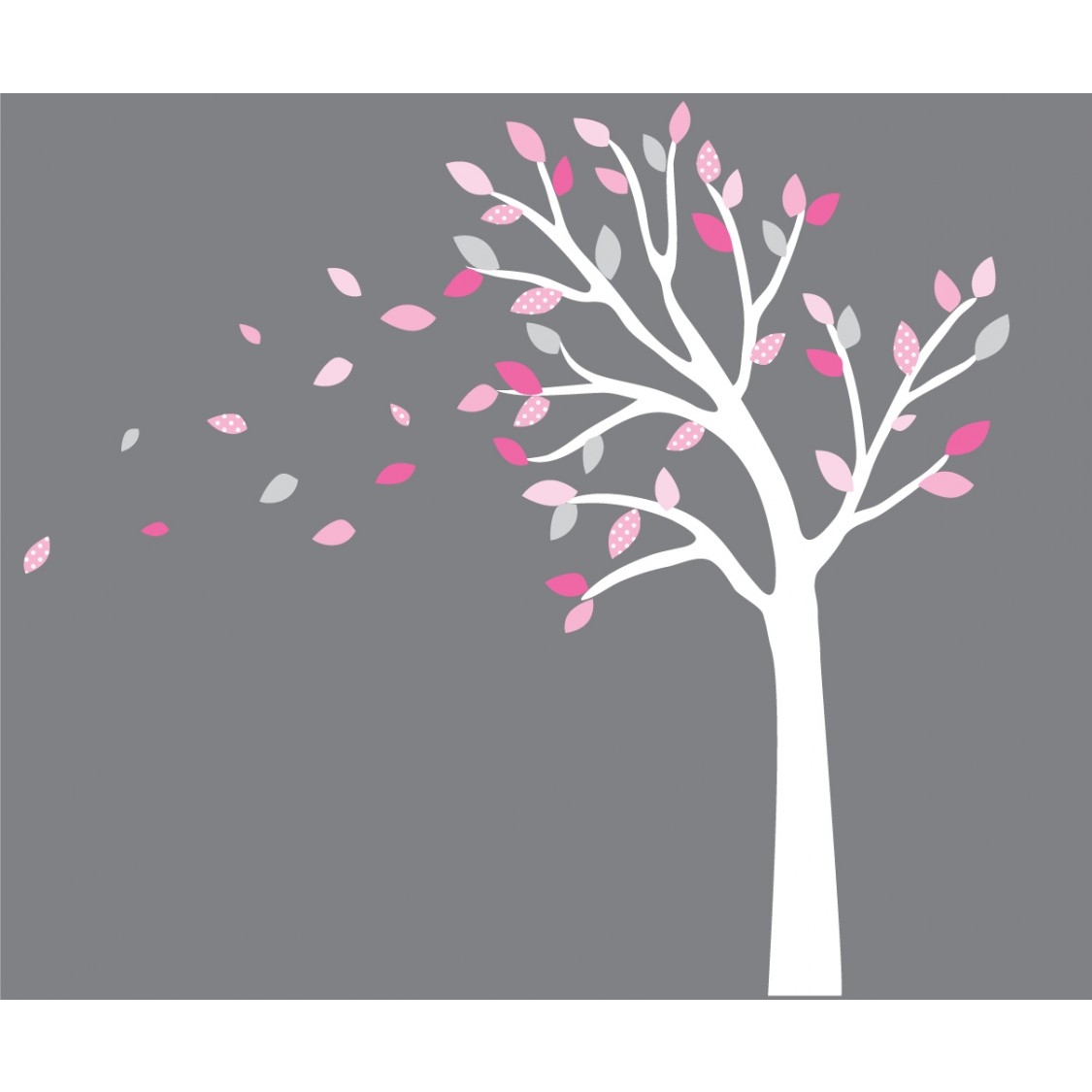 Pink And Gray Blowing Black Tree Wall Decal For Girls