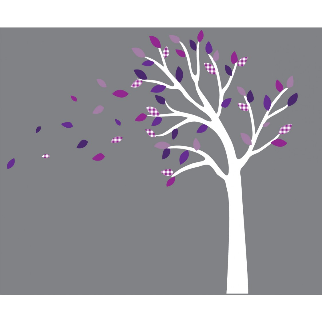 Purple and Gray Blowing Large Tree Wall Decal For Girls Rooms