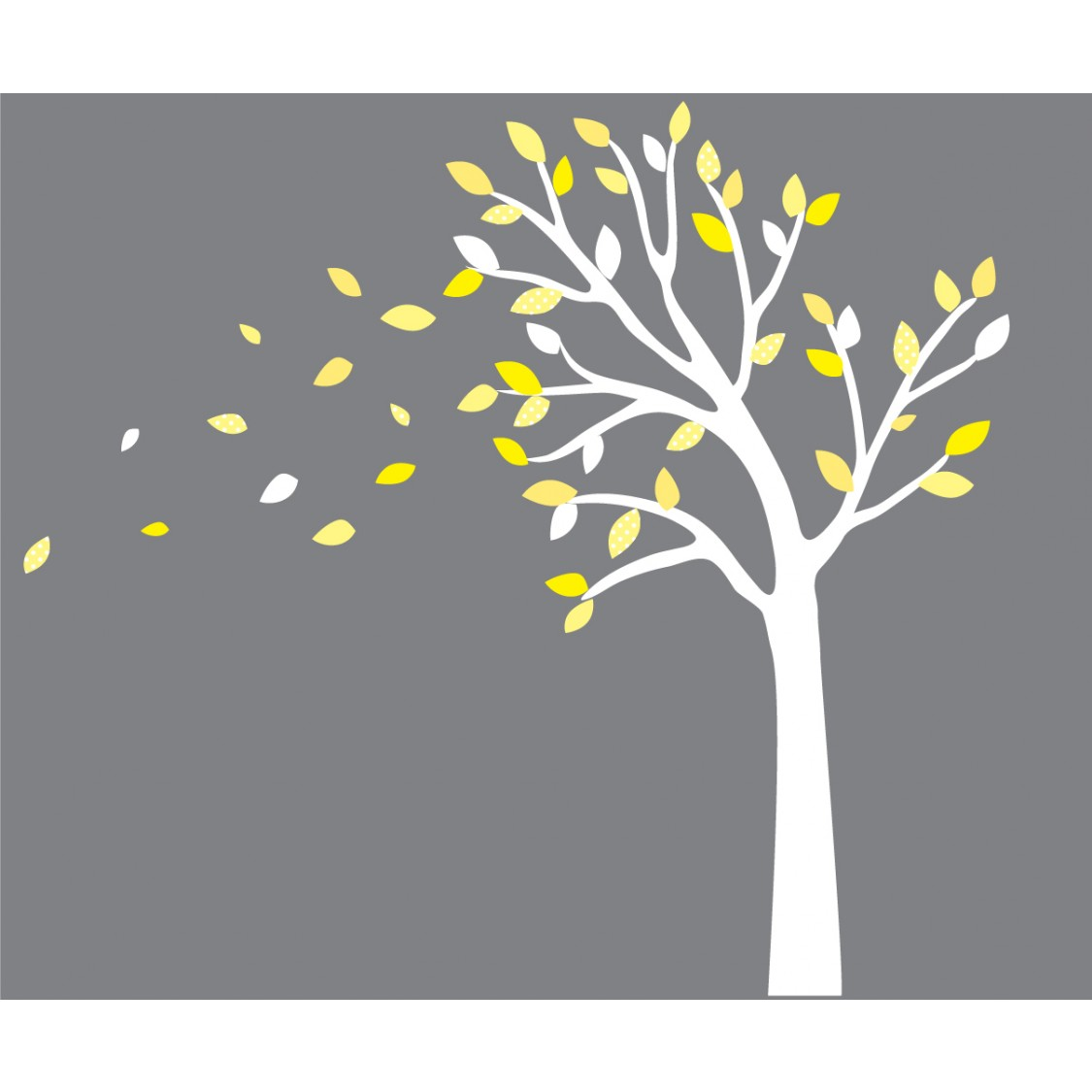 Yellow And Gray Blowing Tree Decal For Nursery For Boys - Yellow wall decals