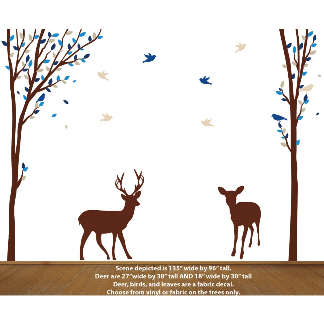 Forest Wall Decals with Deer Stickers