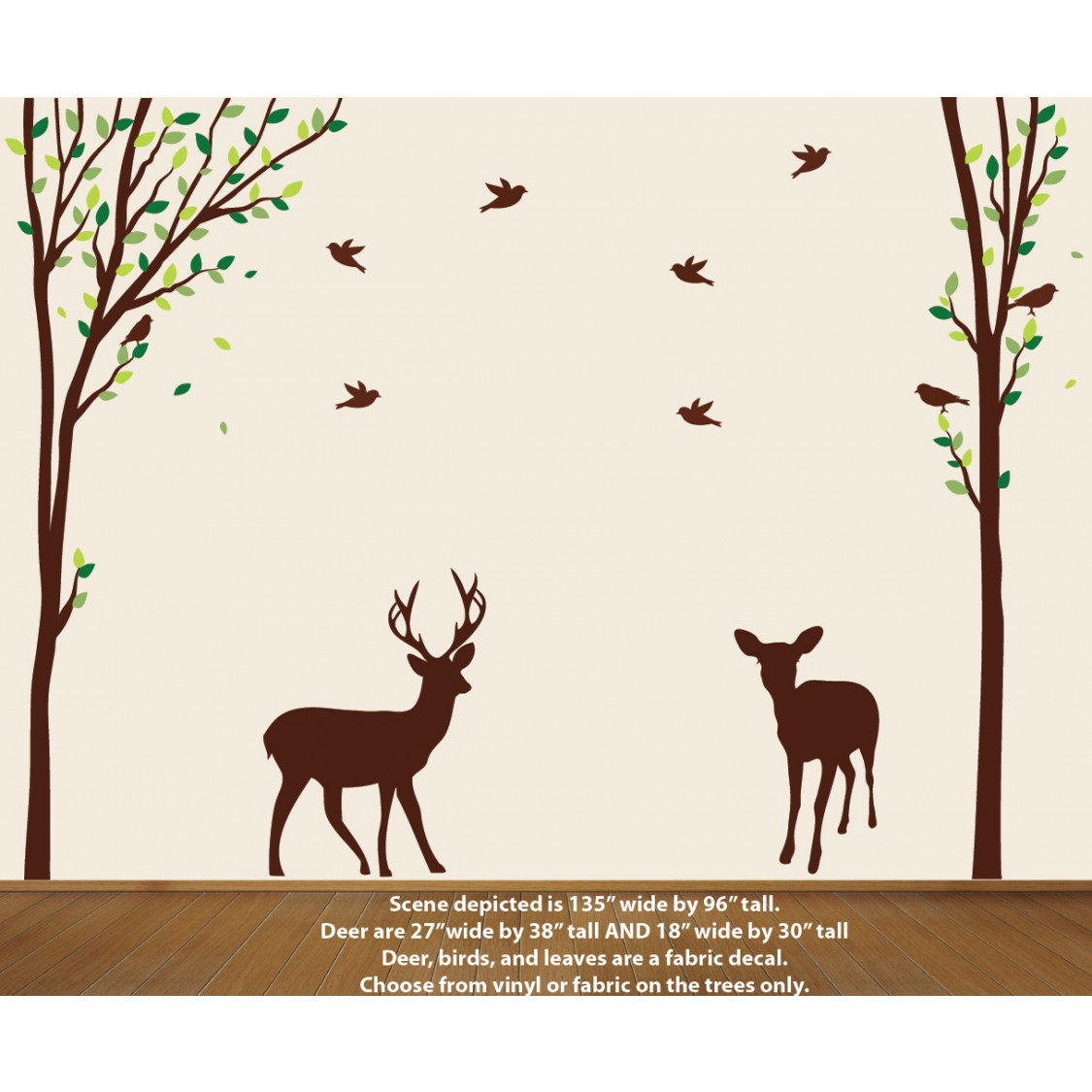 Nature tree decal with deer wall stickers for Deer wall mural