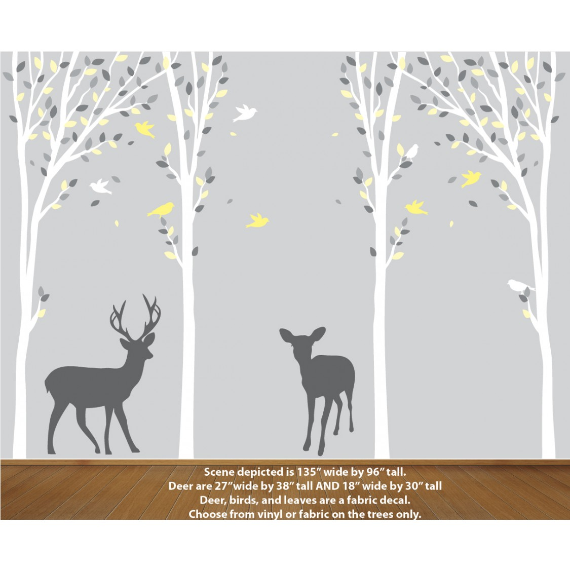 Grey Wall Decal with Deer