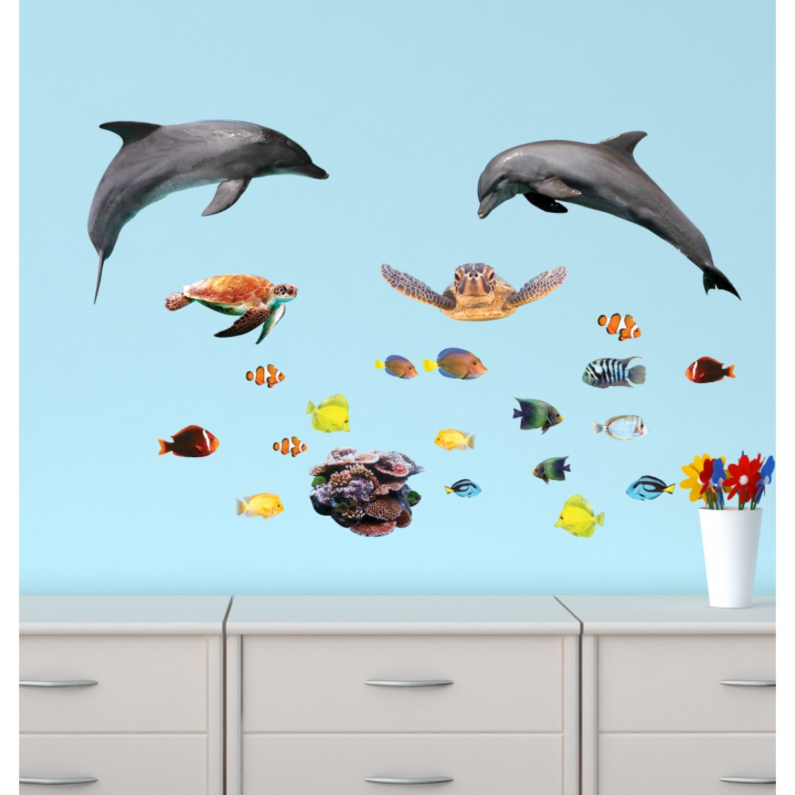 Etonnant Mini Dolphin Wall Stickers With Tropical Fish Decals