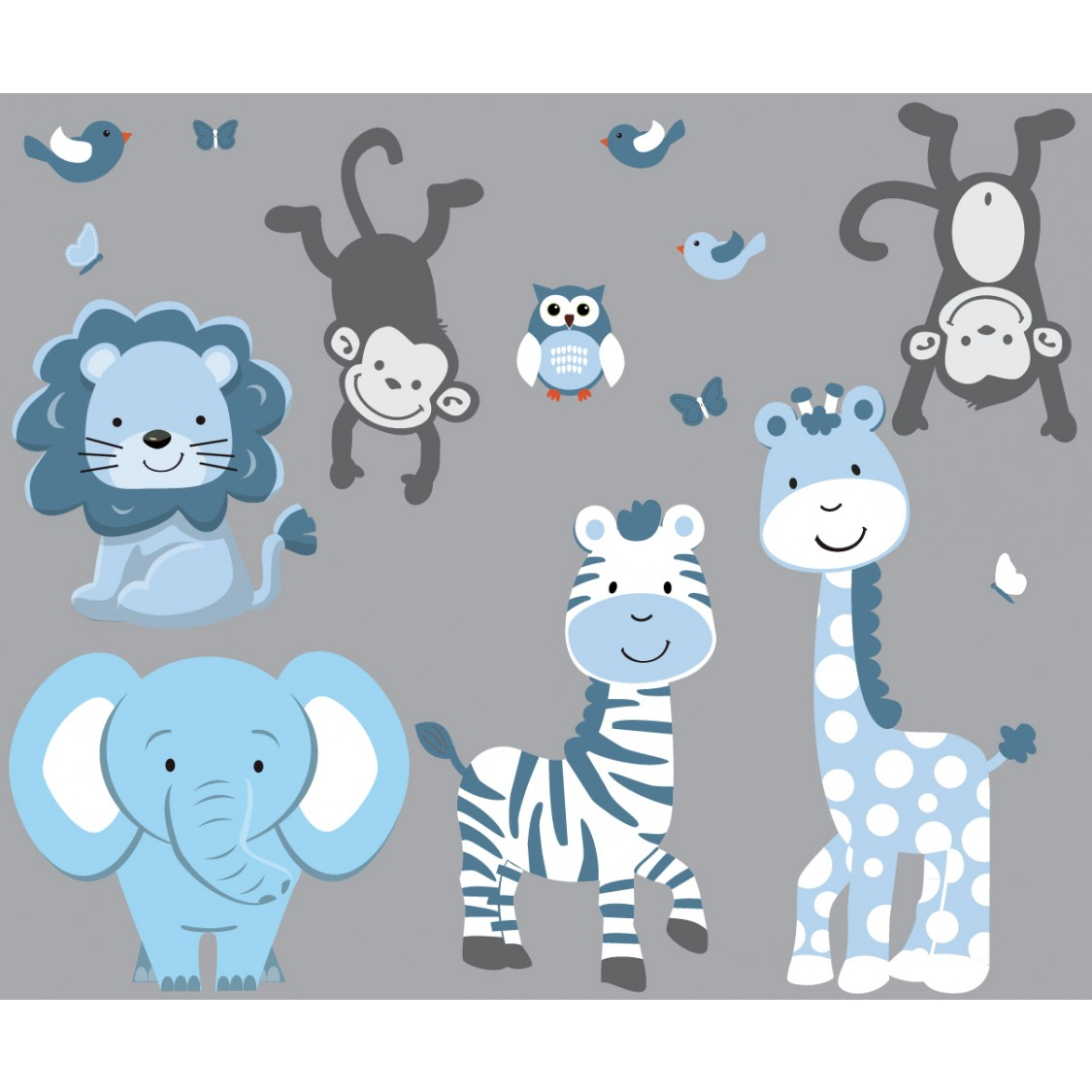 Safari Wall Murals With Zebra Stickers For Boys Rooms