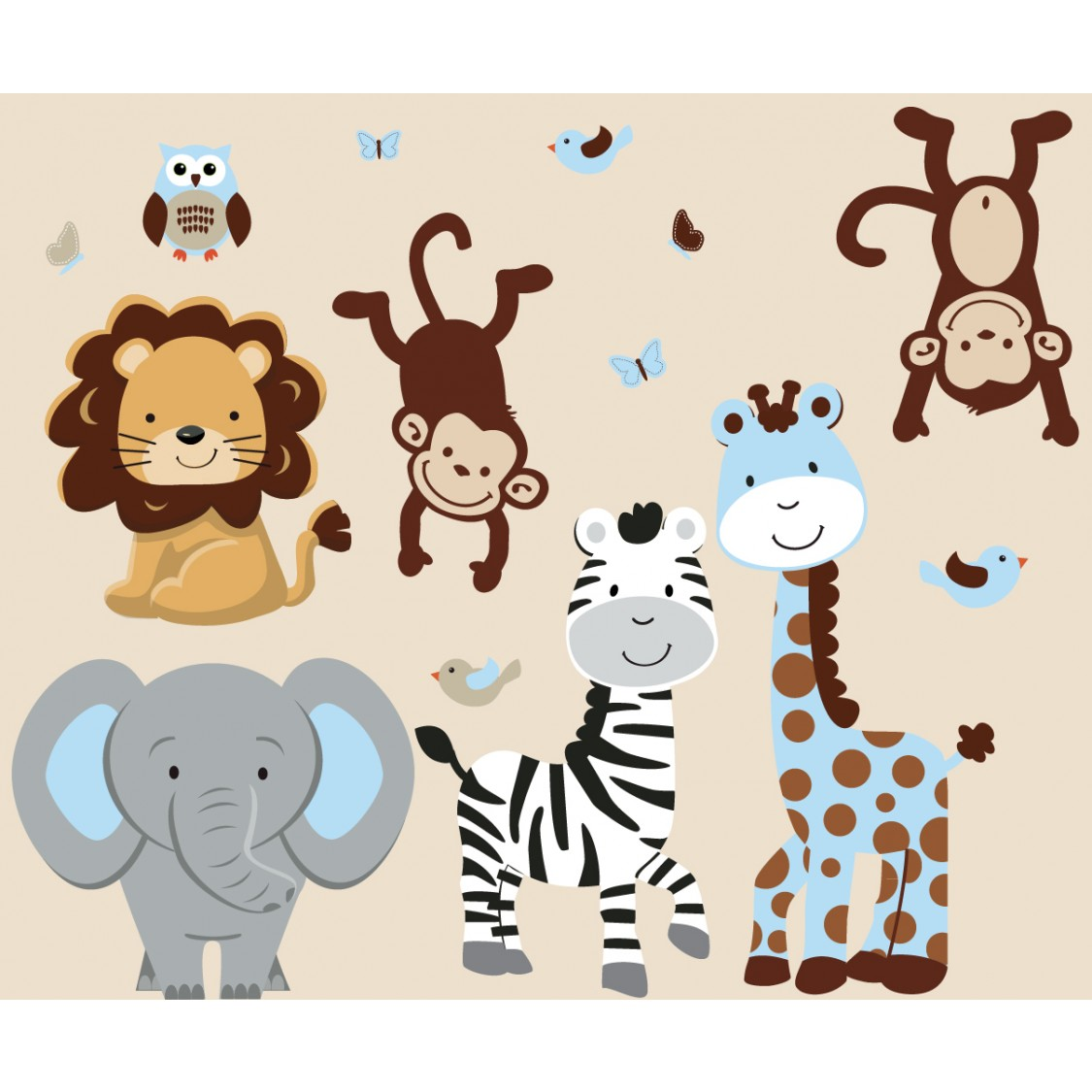 Baby Boy Nursery Wall Stickers Blue Jungle Safari Stickers With Zebra Decals For Boys Rooms