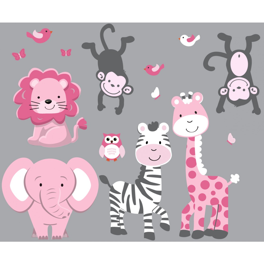 Pink & Gray Jungle Safari Stickers For Children