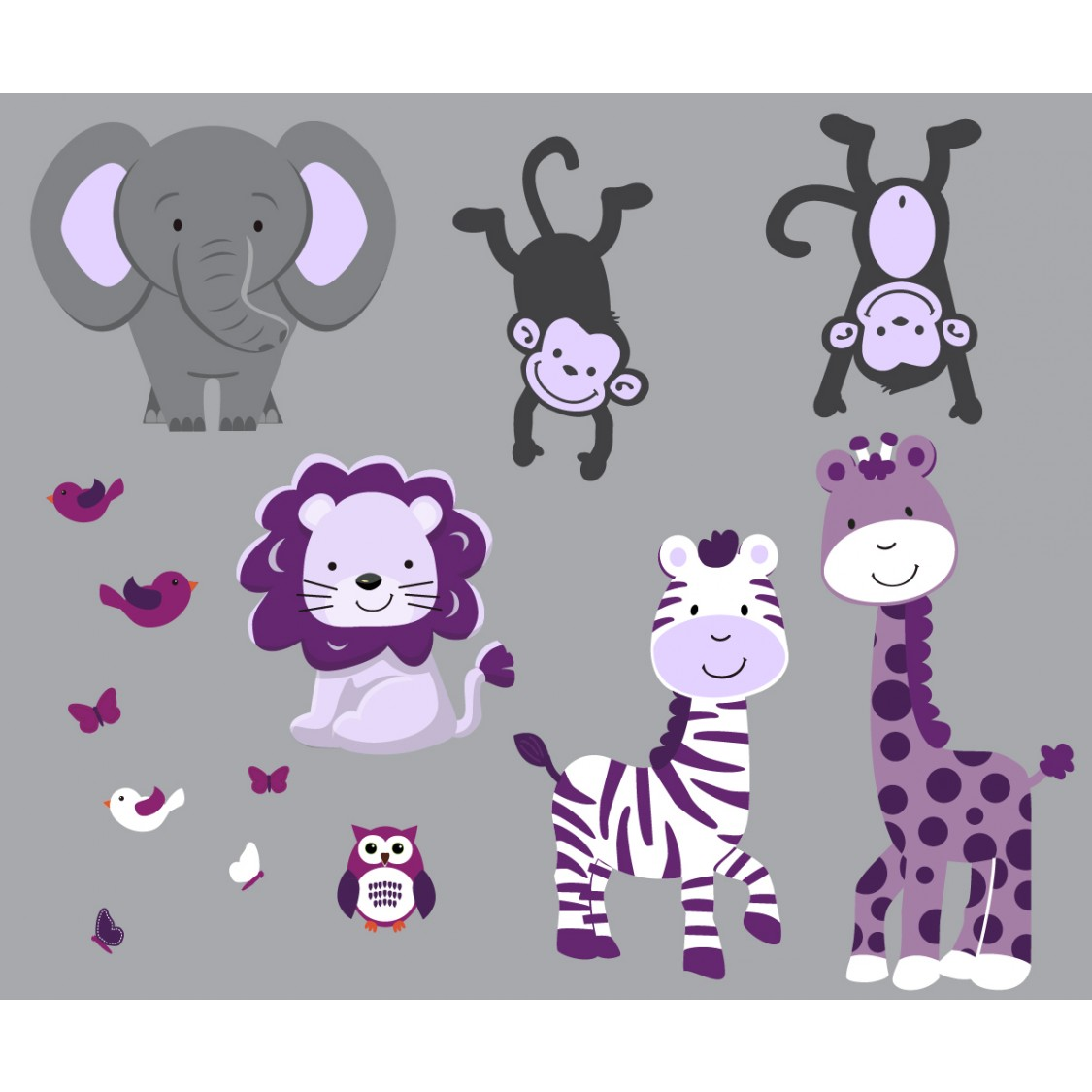 Gray Jungle Stickers With Zebra Wall Art For Girls Rooms