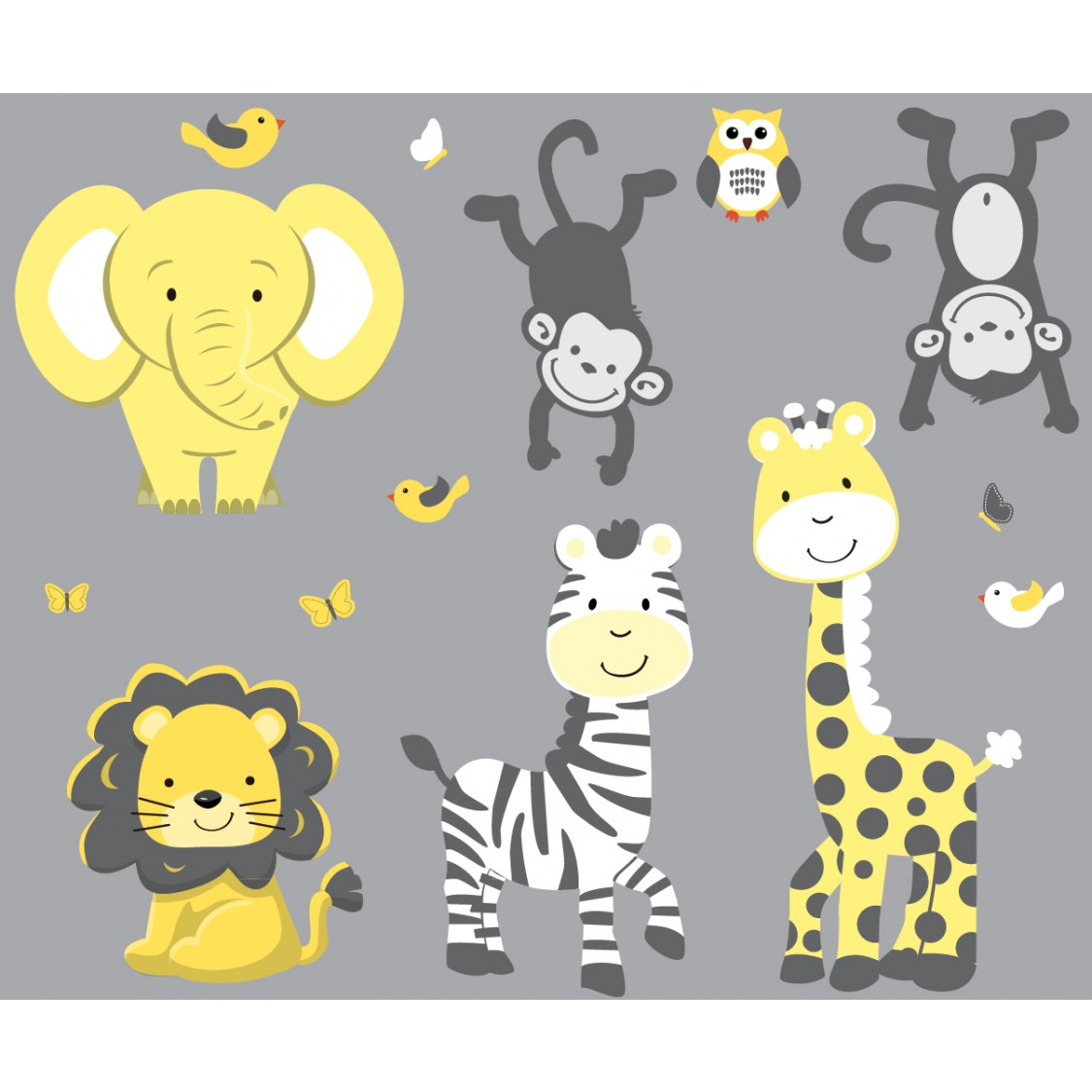 Wall stickers home wall stickers animal wall stickers giraffe wall - Yellow Amp Gray Jungle Nursery Wall Decals With Zebra Wall