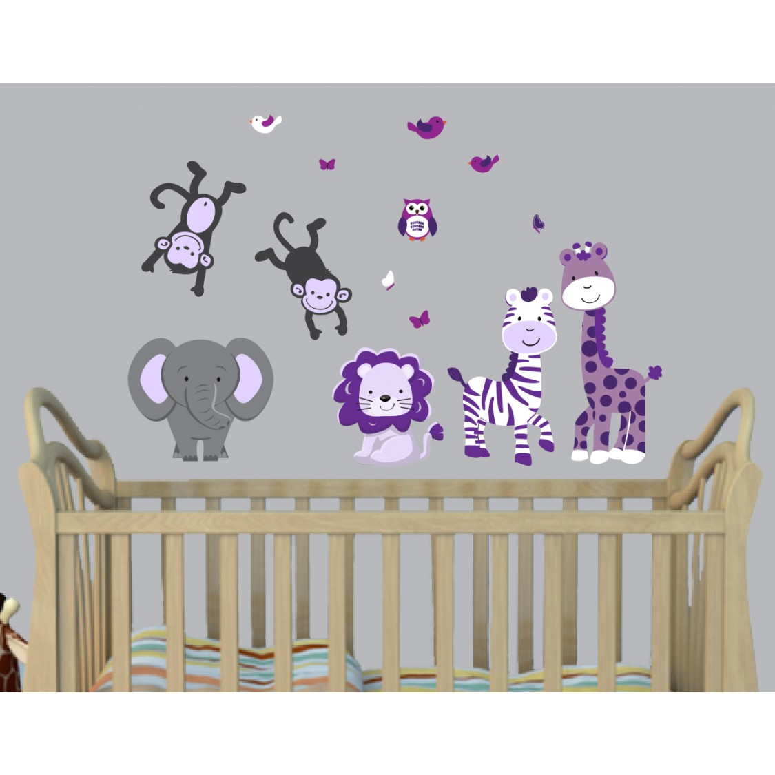 Gray Jungle Wall Murals With Giraffe Wall Decals For Children