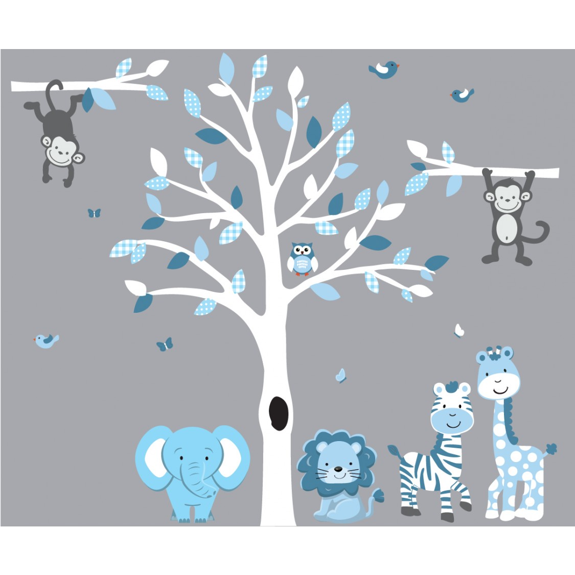 Blue and White Zoo Wall Stickers With Tree Decal For Nursery For Boys Bedrooms