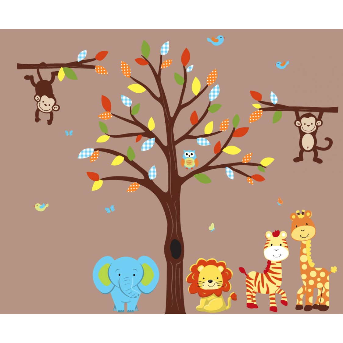 Colorful Jungle Stickers With Stickers Tree For Boys Rooms