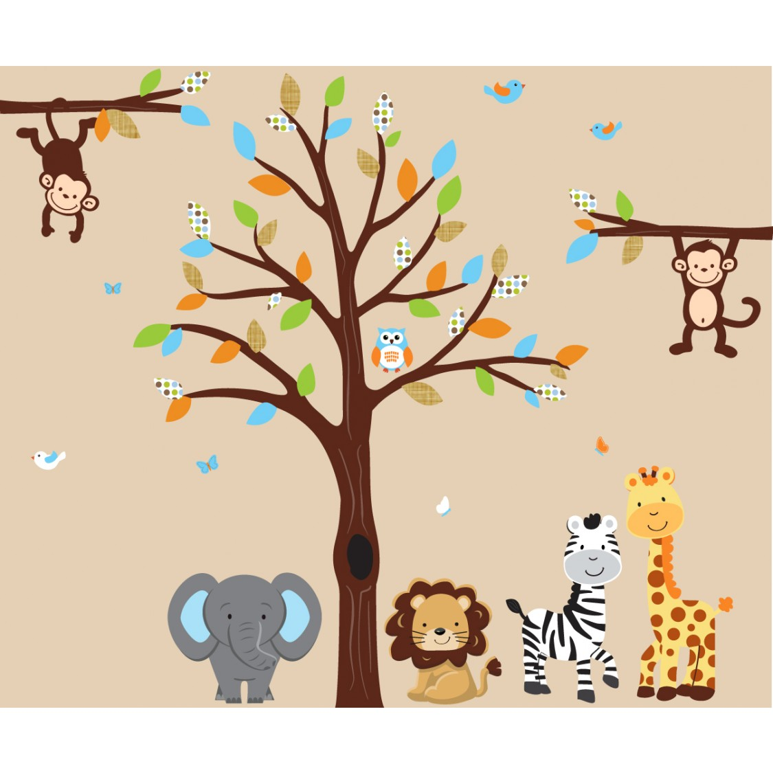Green and Orange Tree Decal With Jungle Wall Decorations For Kids Rooms