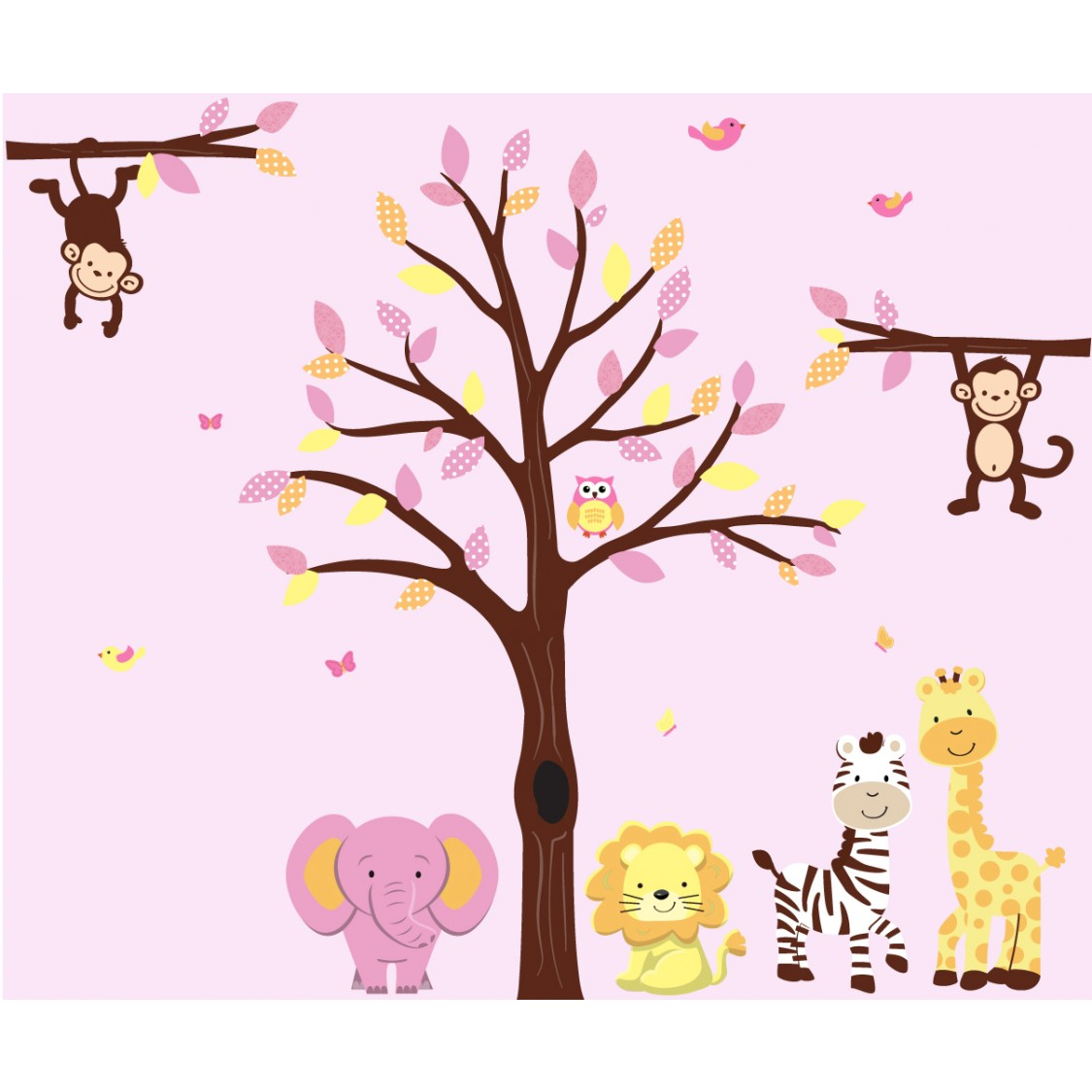 Pink and Orange Wall Decals Trees With Jungle Nursery Wall Decals For Girls