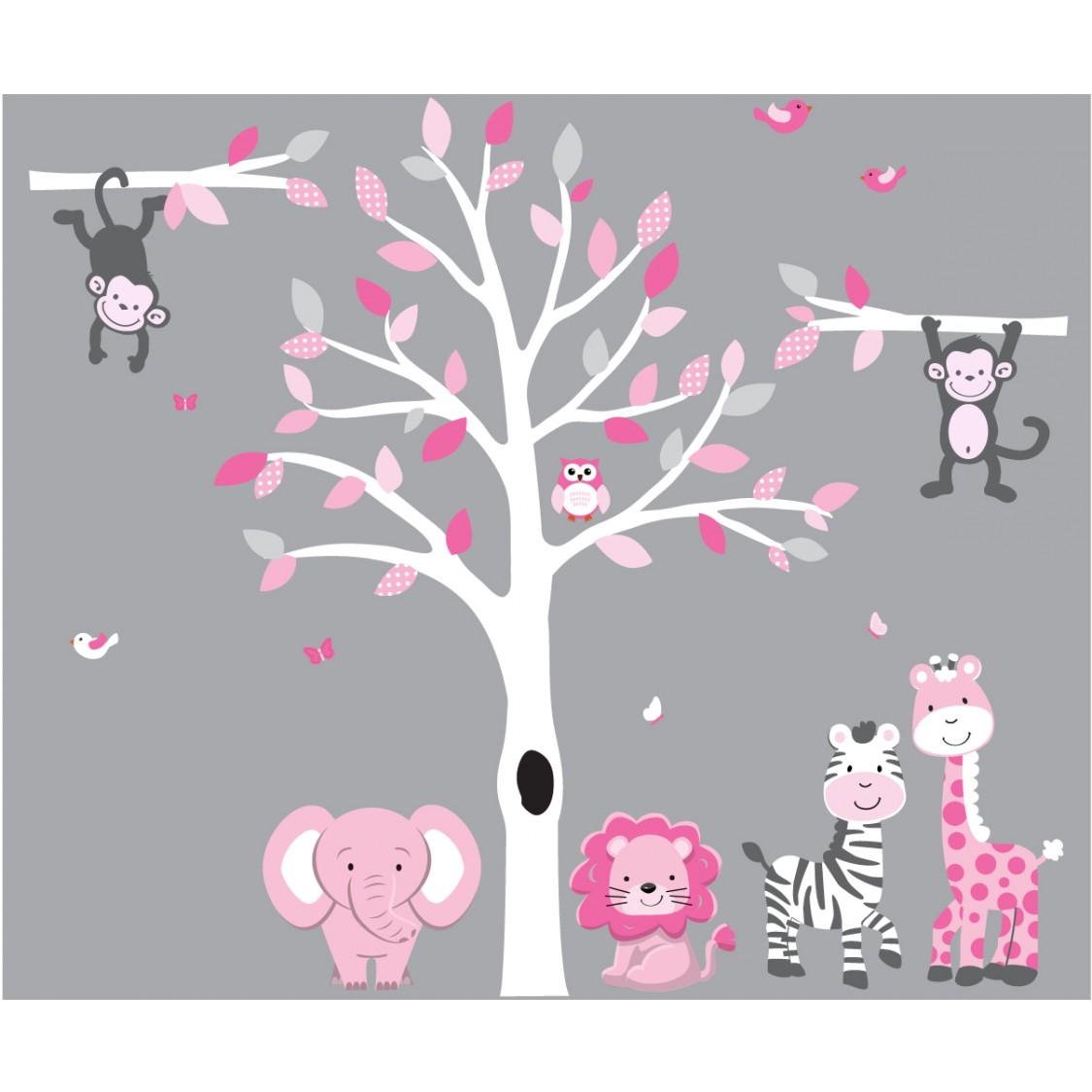 Pink and Gray Large Tree Decal With Jungle Decals For Girls