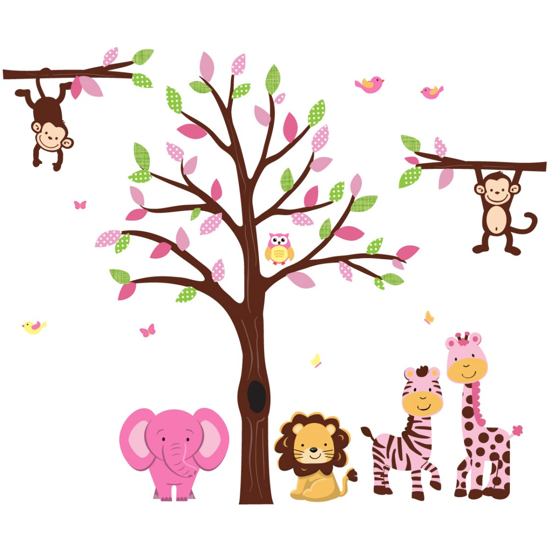 Pink and Green Wall Decals Tree With Stickers Jungle For Children