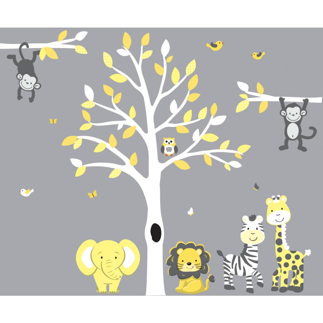 Yellow And Gray Tree Wall Decal With Jungle Nursery Wall Decals - Yellow wall decals