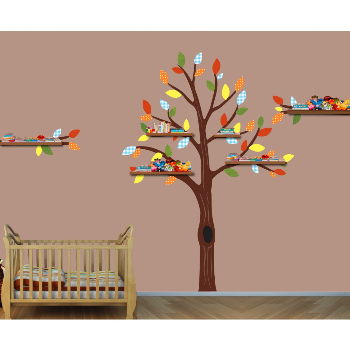 Colorful Shelf Nursery Tree Decals For Kids