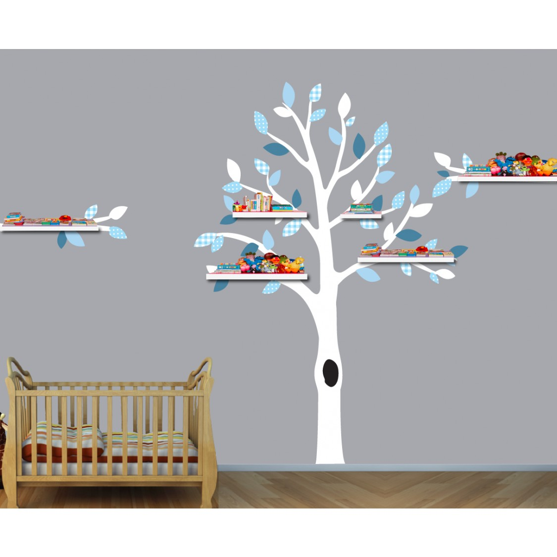 White & Blue Shelf White Tree Wall Decal For Play Rooms