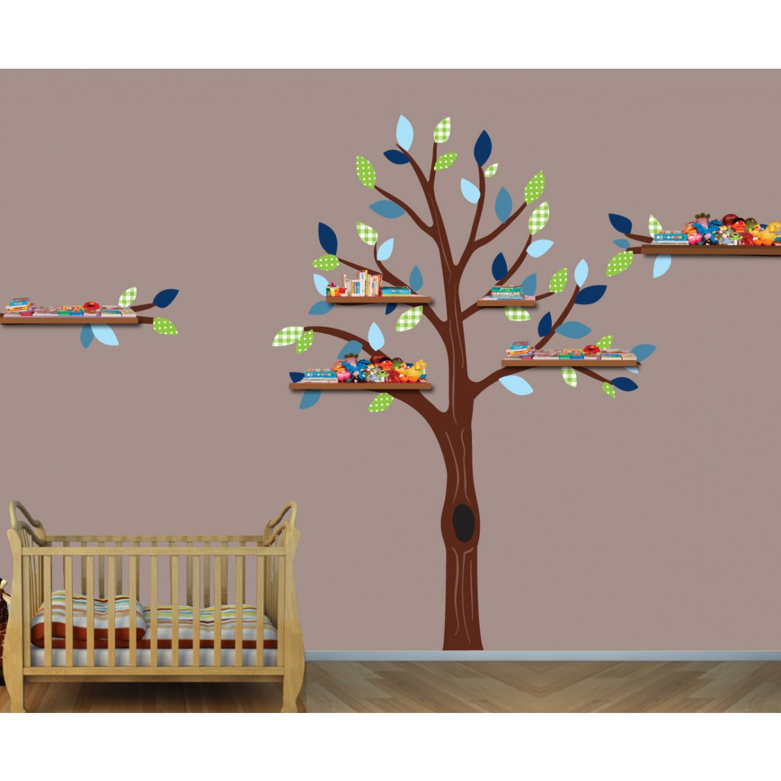 Charming Green And Blue Shelving Nursery Wall Decals Tree For Kids Rooms