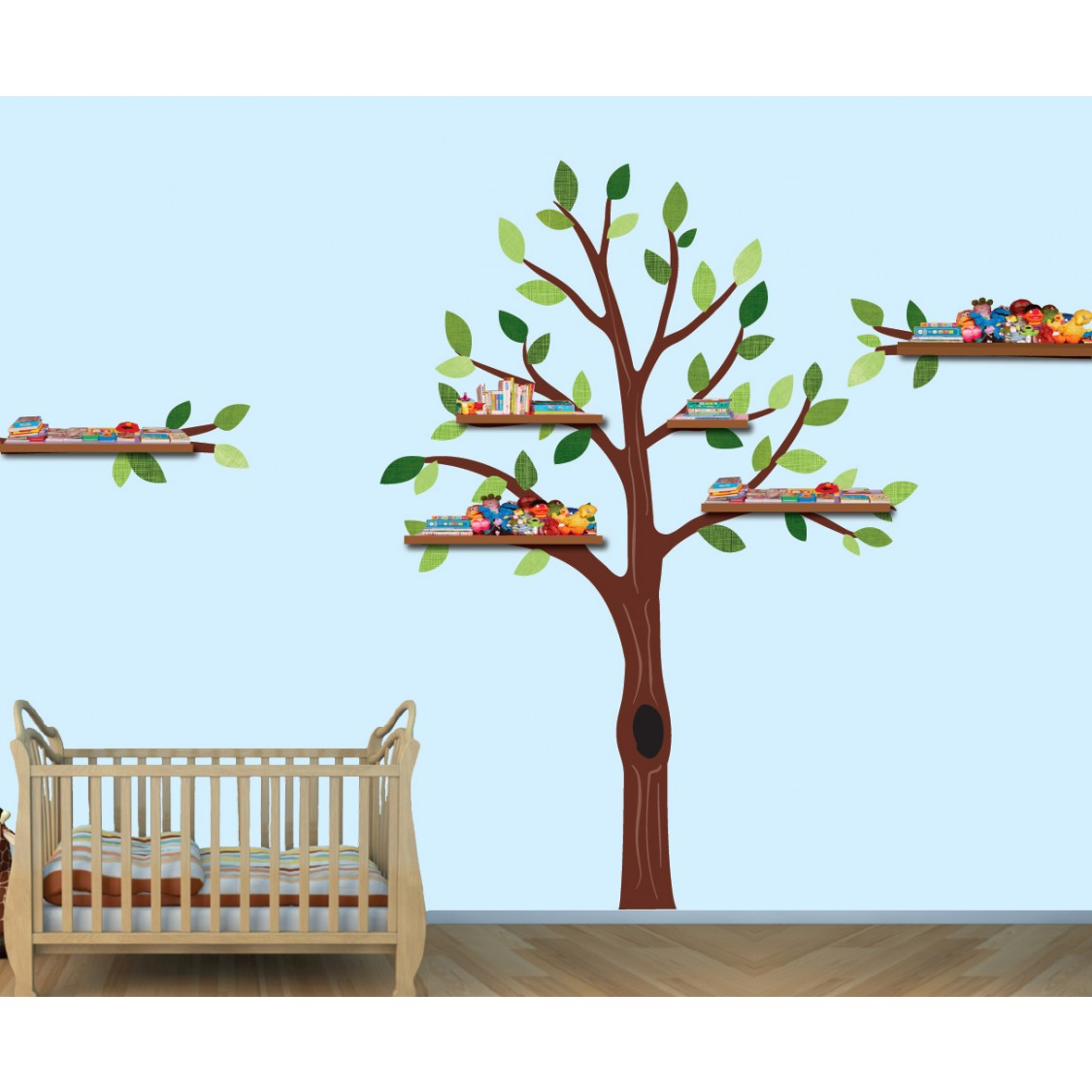 Green Shelving Tree Decals For Play Rooms