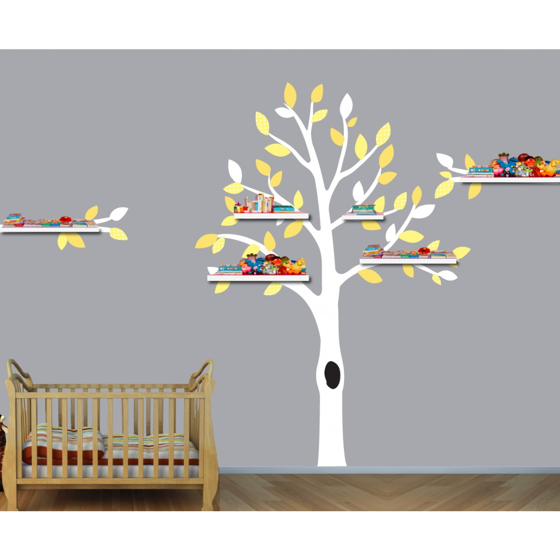 Yellow and Gray Shelf White Tree Wall Decal For Girls