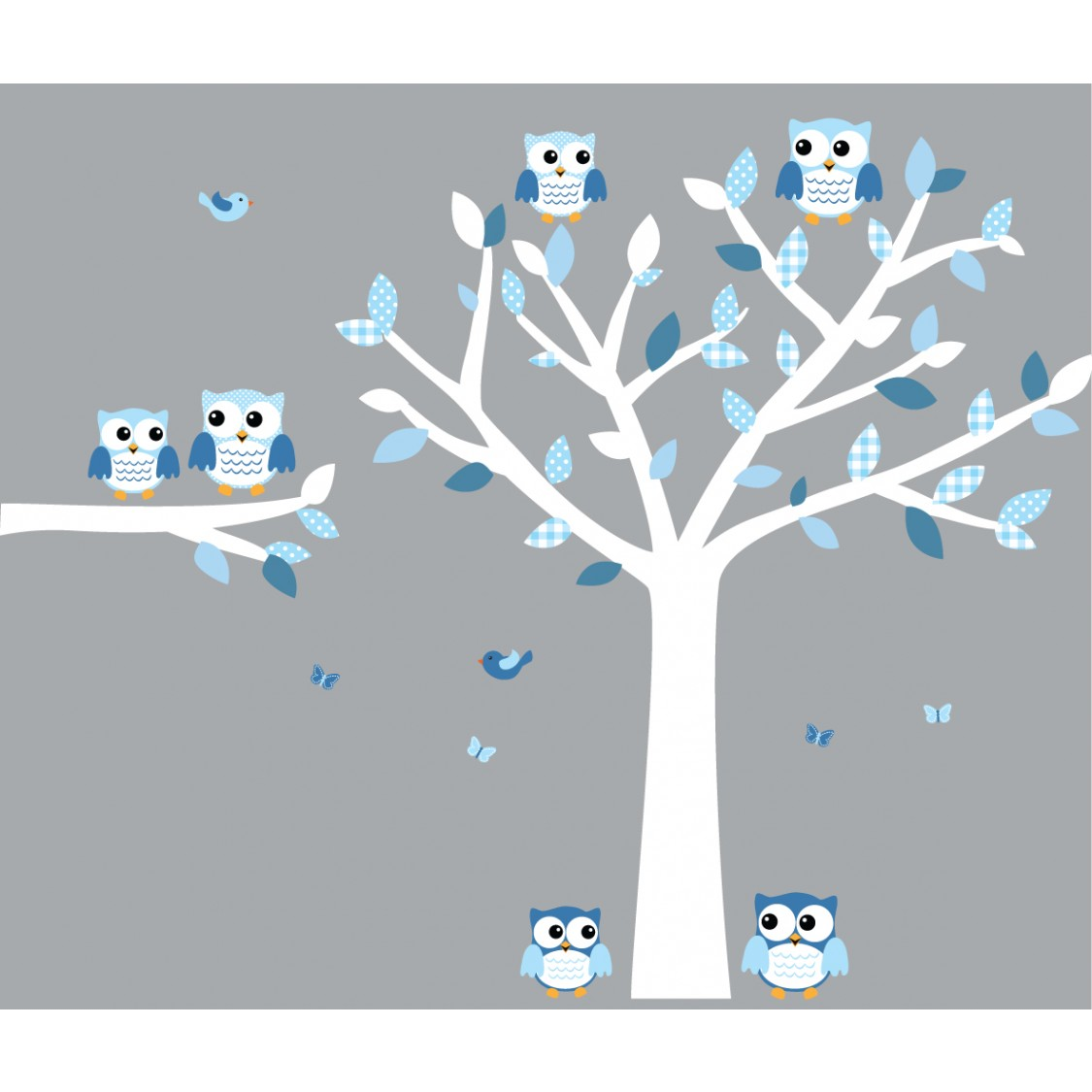 Blue and White Owl Decals With Nursery Tree Decals For Boys Rooms  sc 1 st  Nursery Decals and More & Blue and White Owl Decal With Large Tree Decal For Boys