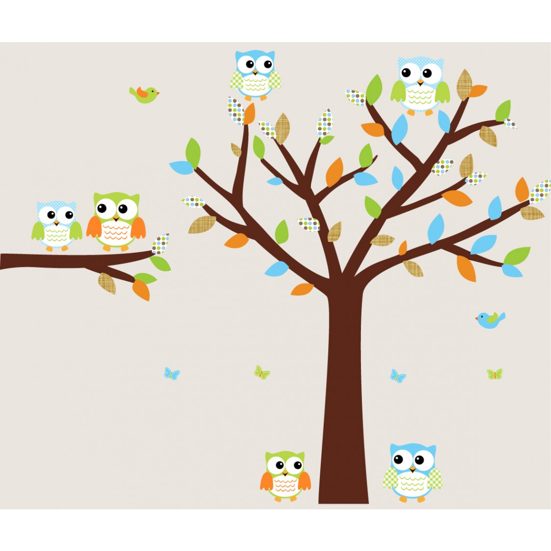 Attractive Colorful Owl Tree Wall Decal With Wall Decals Trees For Boys Bedrooms
